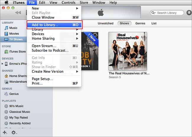 Transfiere videos del iphone a la mac - itunes paso 1