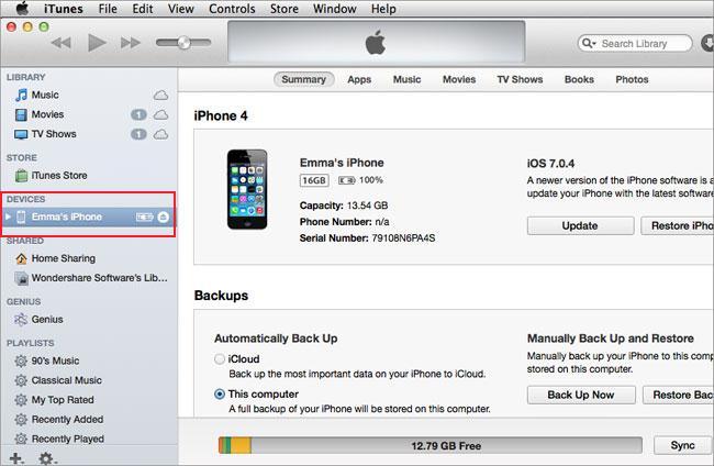 Transfiere videos del iphone a la mac - itunes paso 2