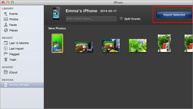 iPhoto para importar videos desde el iPhone a la Mac - con Vista Previa/iPhoto/Imágenes