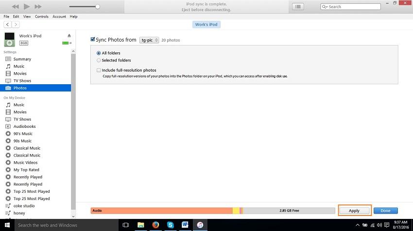 Transferir fotos desde ordenador hacia el iPod Touch- Botón Aplicar