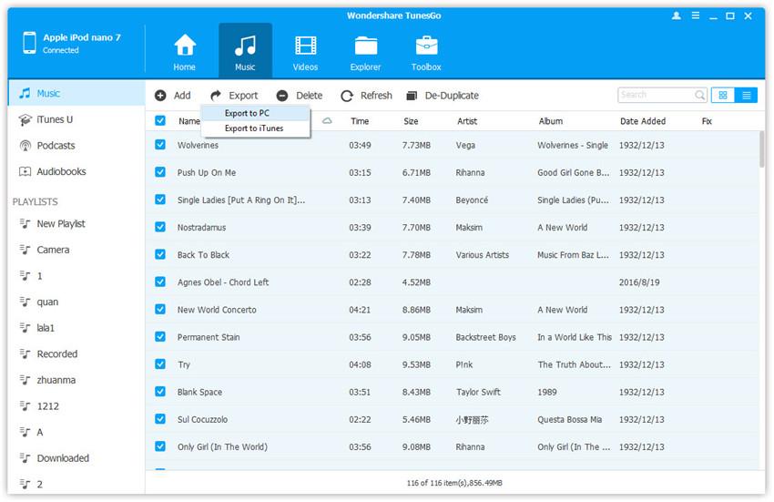 Organizar  música en el iPod-Exportar música del iPod a la PC