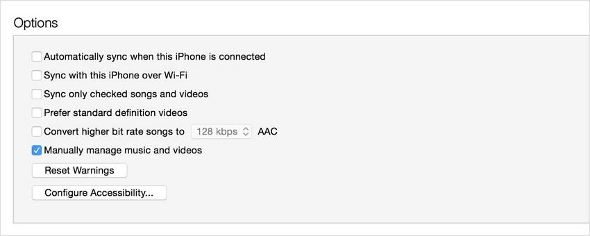 Organizar  música en el iPod-Sección Resumen