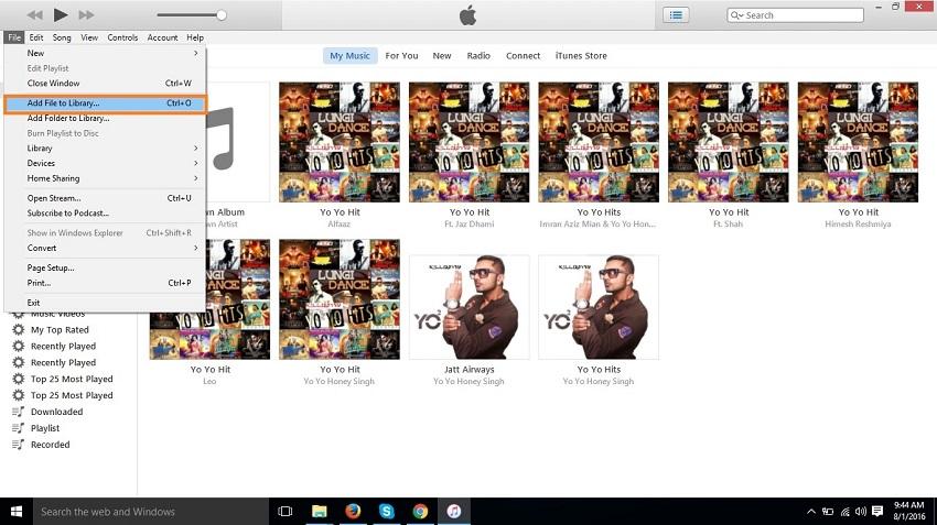 Organizar  música en el iPod-Agregar Archivo a la biblioteca