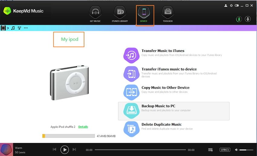Transferir música desde el iPod a la unidad flash USB