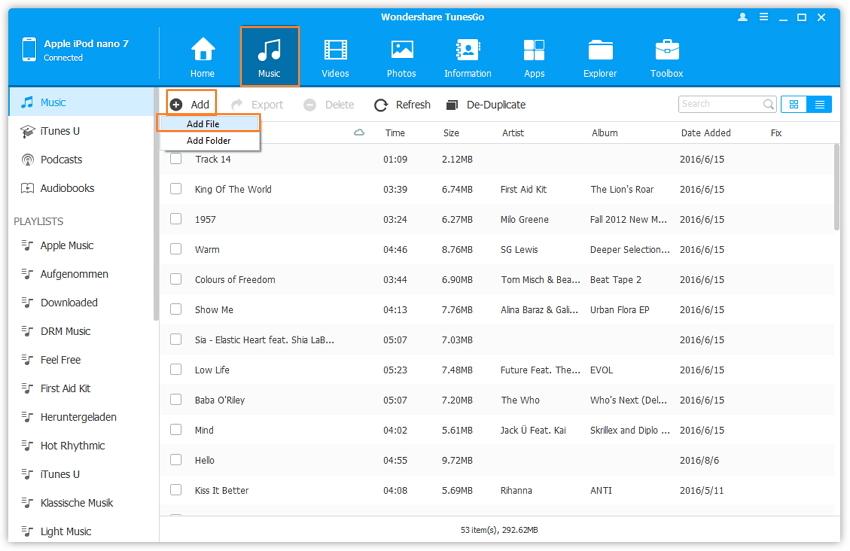 Editar listas de reproducción en el iPod-agregar canción