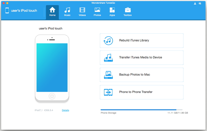 transferir música desde el ipod touch a iTunes-descargar tunesgo y conectar el ipod