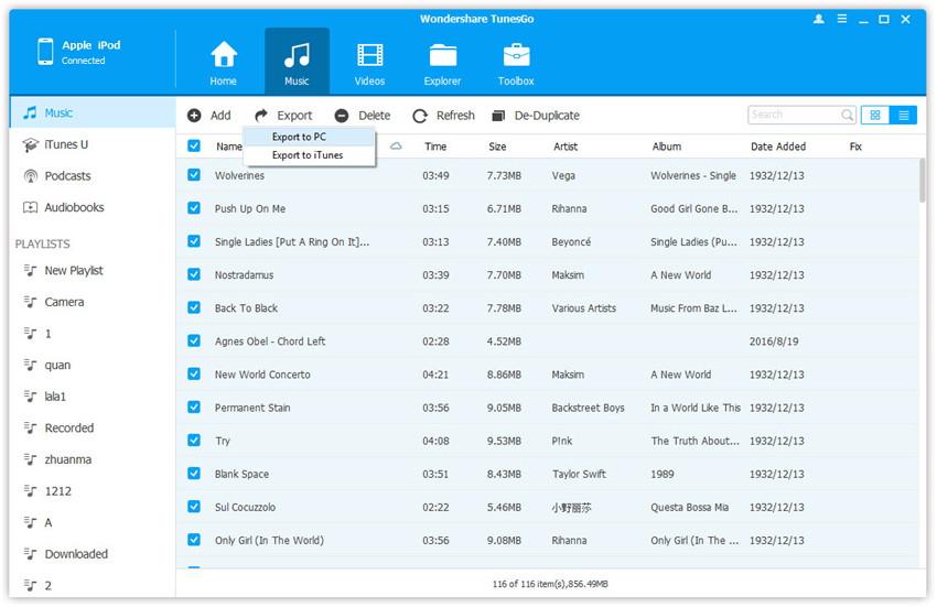 transferencia de iOs - sincronizar el iPod con TunesGo