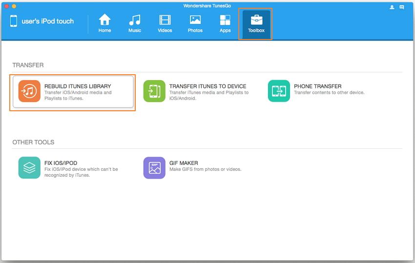 transferir música desde ipod touch a iTunes-Reconstruir Librería de iTunes