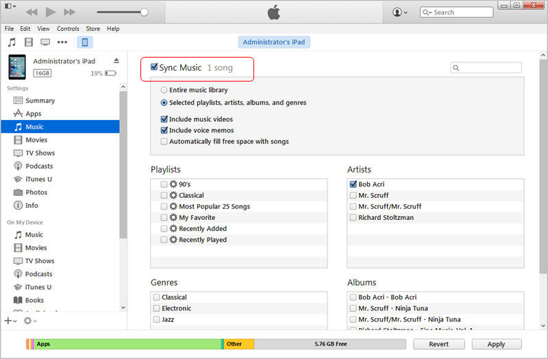 Sincronizar el iPad con iTunes