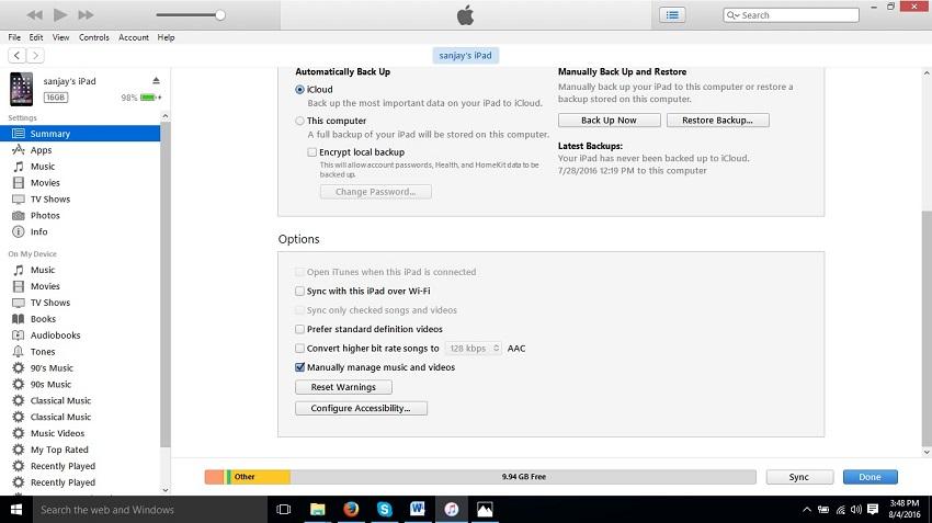 Cómo sincronizar iPad con iTunes-Resumen y sincronización