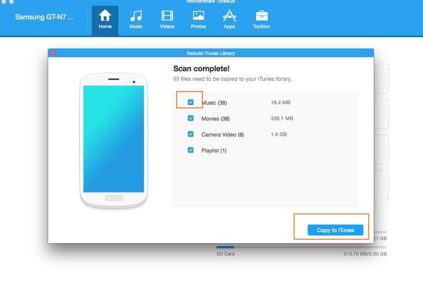 cómo transferir música de Android a iTunes-comprobar música y copiar a iTunes