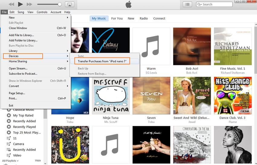 copiar archivos desde el ipod a itunes-tranferir compras desde el ipod