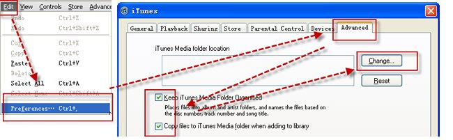 Transferir música de iTunes de PC a Mac-página avanzada de preferencias de iTunes