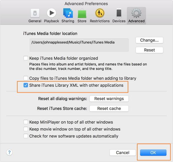 Transferencia de música de iTunes desde PC a Mac-configuración avanzada