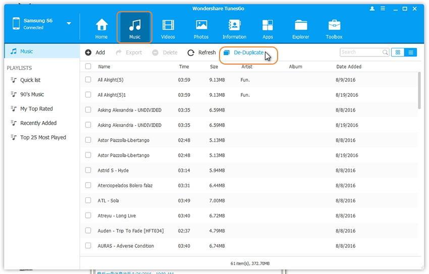 Click De-Duplicate to remove duplicate music files