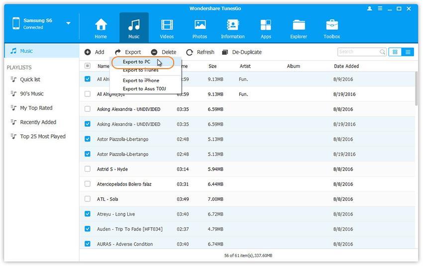 Transfiere Música desde Samsung Galaxy S8 a la PC