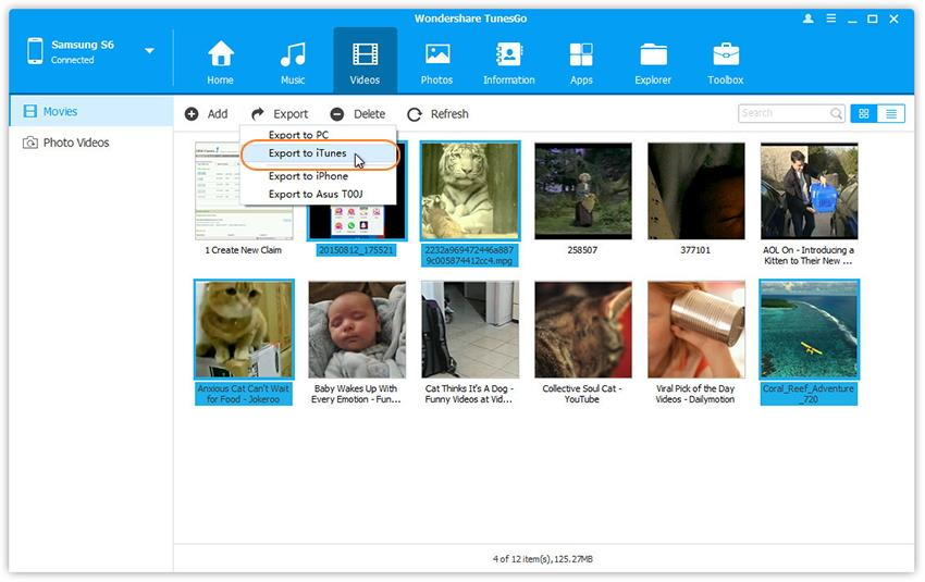 Transfer Videos from Android to iTunes Library