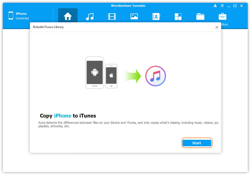 1-click rebuild iTunes library - start scanning media files on iDevice