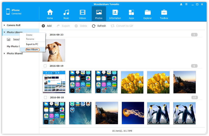 Manage Photo Albums in Photo Library - connect devices with computer