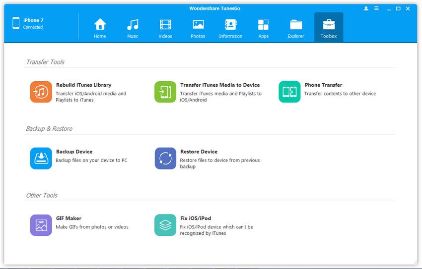 Interfaz de Usuario de TunesGo - Información