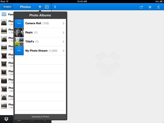 Transférer des photos de l'appareil photo vers iPad - Utiliser Dropbox