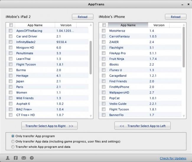 Transférer des applications d'iPhone à iPad avec des applications tierces -AppTrans