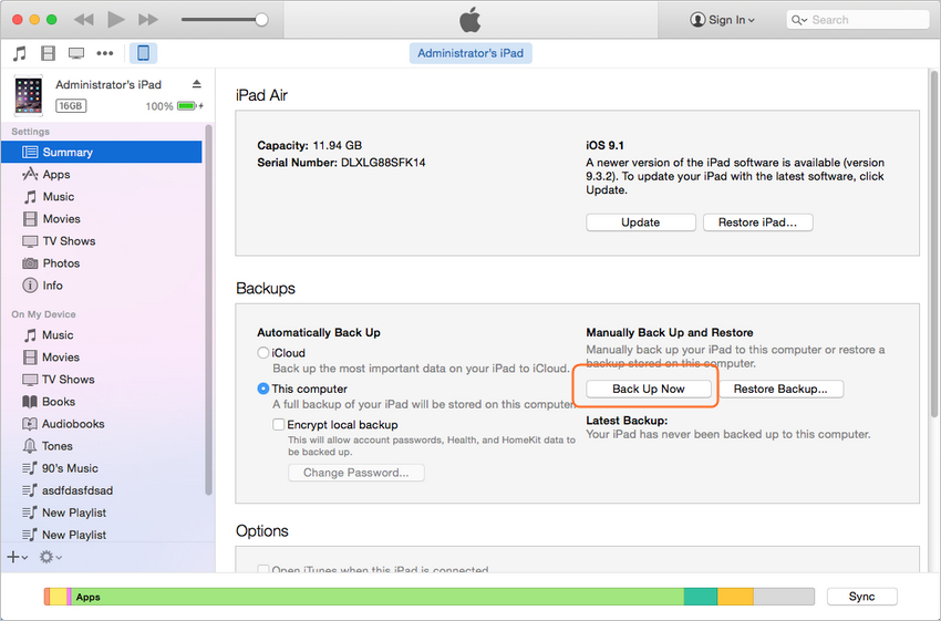 Sauvegarde données iPad Mavericks - Sauvegardez iPad avec iTunes