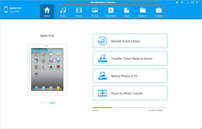 transférer des listes de lecture sélectives d'iPad à iTunes en utilisant TunesGo - Choisir la catégorie Boîte à outils