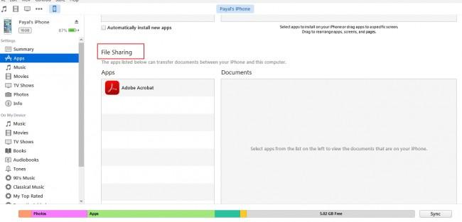 Transfert de fichiers du PC vers iPhone - passer au partage de fichiers