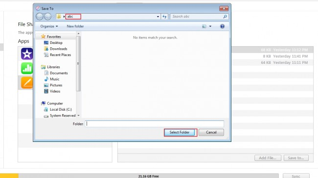 Transfert de fichiers d'iPad vers le PC - sélectionnez le dossier de destination