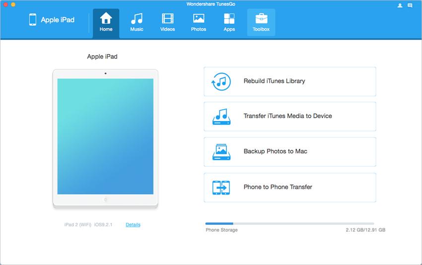 iPad Sauvegarde des Données Mavericks - Démarrez TunesGo et connectez iPad