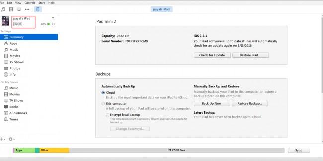 Transfert de fichiers d'iPad vers le PC- Ouvrez iTunes et connectez iPad au PC