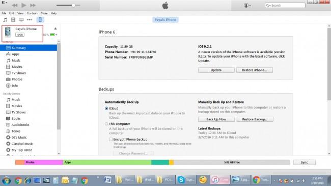 Transfert de fichiers de l'ordinateur vers iPhone - ouvrez iTunes et connectez iPhone au PC