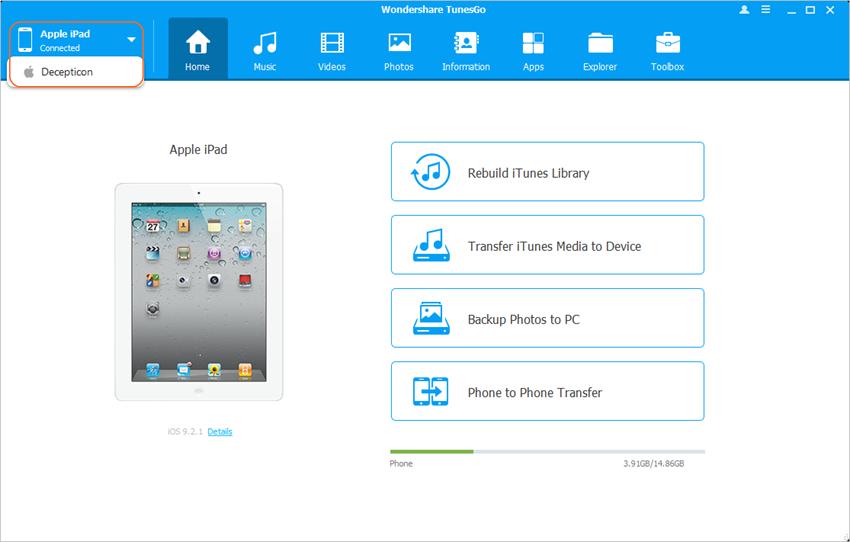 Transférer des photos d'iPod vers iPad en utilisant l'un des programmes de transfert de photos - Connecter iPod et iPad