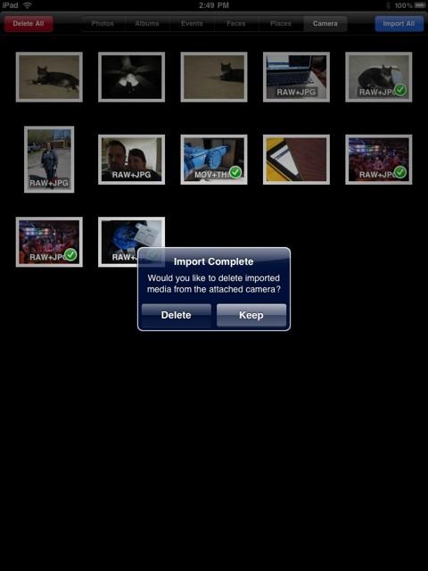 Transférer des photos de l'appareil photo vers iPad en utilisant le kit de connexion de l'appareil photo pour iPad - Supprimer les photos de la caméra attachée