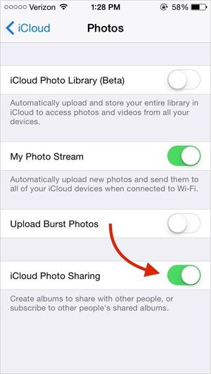Transférer des photos d'iPod vers iPad en utilisant la Bibliothèque Photo iCloud ou Photo Stream
