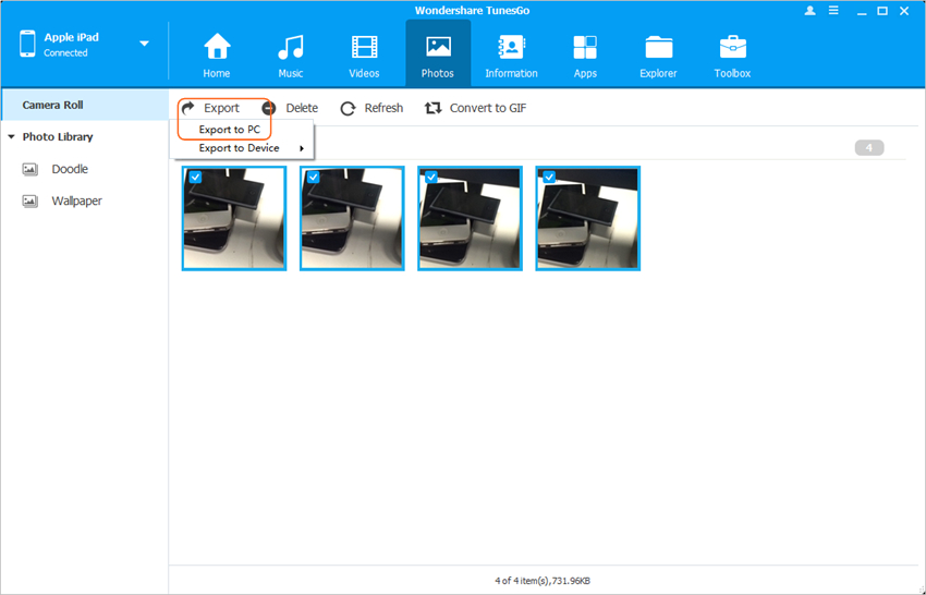 Transfer Camera Roll from iPad to PC - Transfer Camera Roll