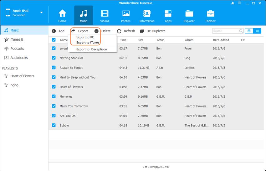 Gestionnaire des fichiers iPad  - Transférer les Fichiers vers PC