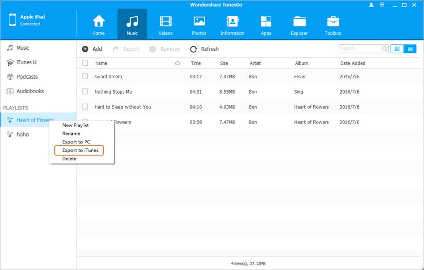 Transfert d'autres fichiers d'iPad vers iTunes - Transfert de la liste de lecture d'iPad vers iTunes