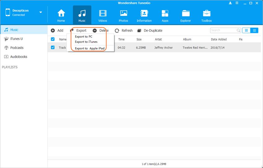 Transférer des fichiers d'iPhone vers iPad avec Wondershare TunesGo - Transférer les fichiers d'iPhone vers iPad