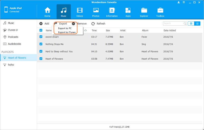 Copier de la musique d'iPad vers l'ordinateur - Transférer de la musique vers Bibliothèque musicale d'iTunes