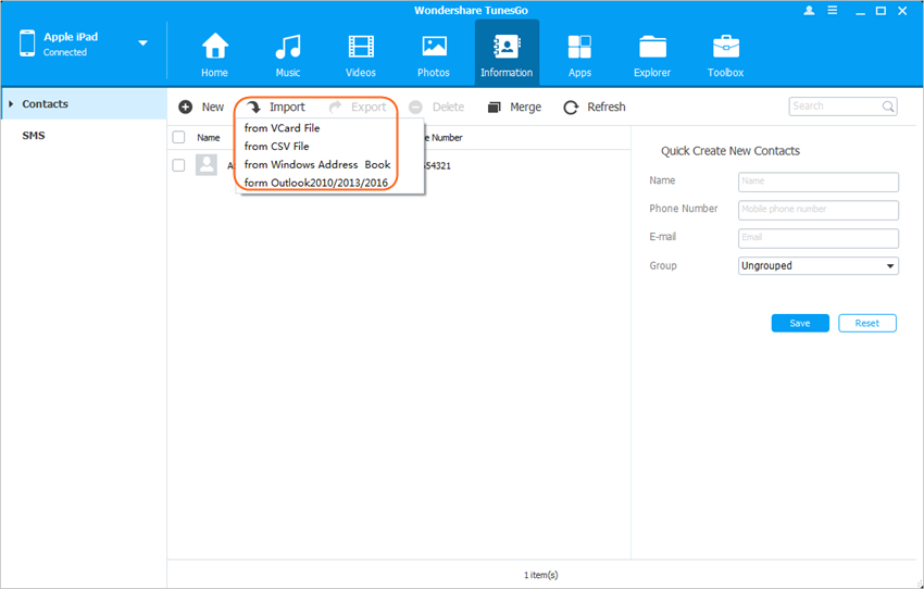 copy files from pc to ipad - Import Contacts