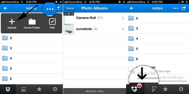 Transférer des fichiers d'iPhone vers iPad via Dropbox