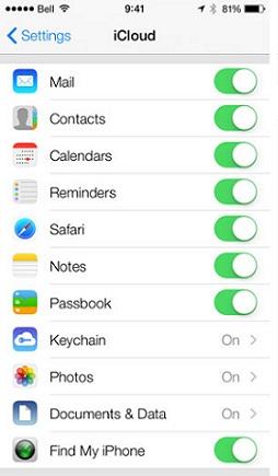 Comment faire pour synchroniser iPhone à iPad avec iCloud- Activer les fichiers que vous souhaitez transférer