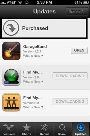Transférer des applications d'iPad vers iPhone avec iCloud - cliquez sur le bouton Acheté