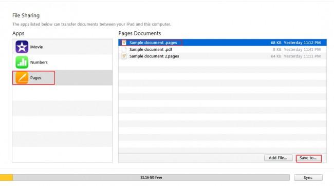 Transfert de fichiers d'iPad vers le PC - sélectionnez le fichier