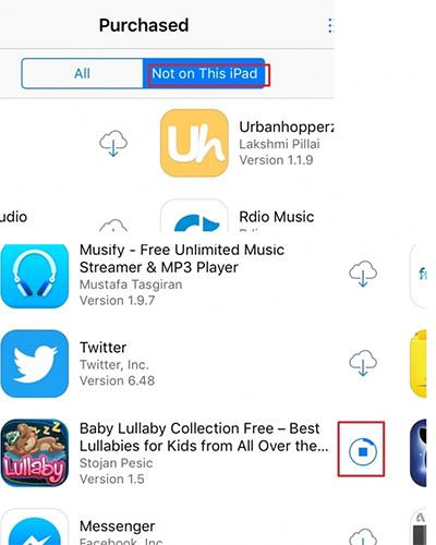 Transfert d'applications d'iPhone àiPad Avec l'App Store - étape 3: sélectionnez Pas sur cet iPad