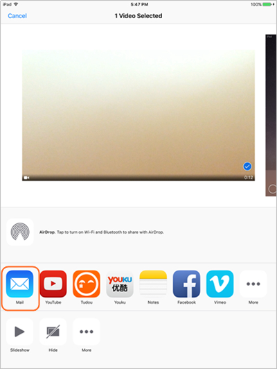 Transférer des fichiers d'iPad vers PC à l'aide de votre courrier électronique - Sélectionner le fichier à transférer