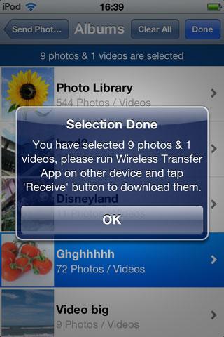 Transférer des photos d'iPod vers iPad via Wifi