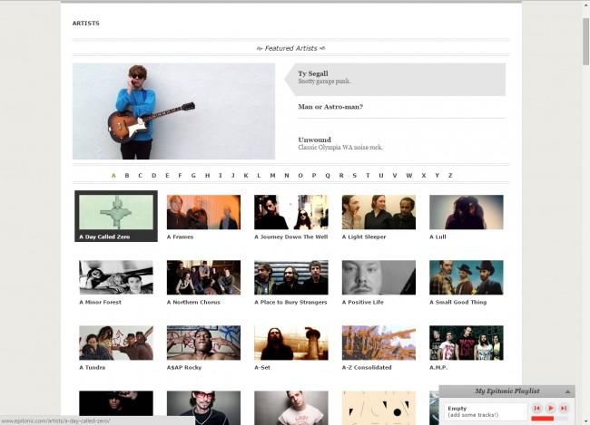 Télécharger de la musique de Epitonic vers PC - Sélectionner Artiste